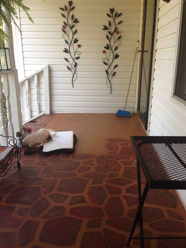 porches painted concrete stone stencil makeover, concrete masonry, diy, painting, porches, It took me a couple of days but it was worth the time