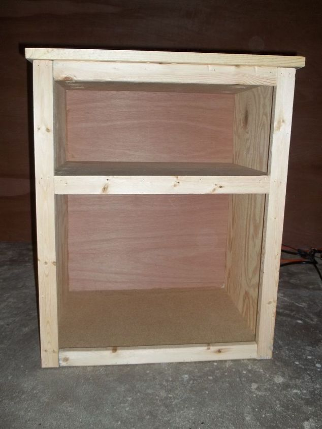 q staining wood fixing blotchiness, painted furniture, woodworking projects, Front of the night stand prior to staining
