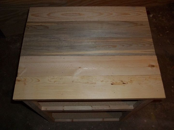 q staining wood fixing blotchiness, painted furniture, woodworking projects, Top of the night stand prior to staining