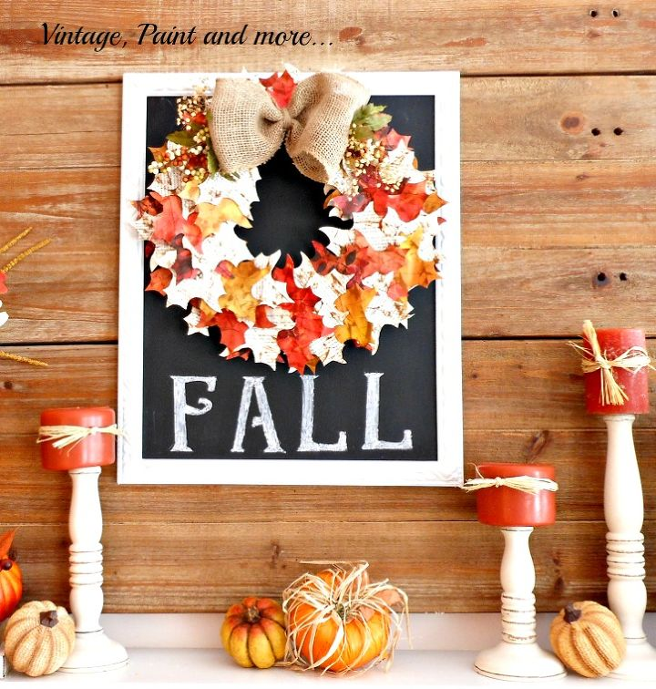 fall mantel decor wreath leaves candles pumpkins latern, crafts, fireplaces mantels, home decor, seasonal holiday decor