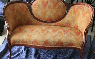 chalk paint furniture fabric settee antique makeover, chalk paint, painted furniture