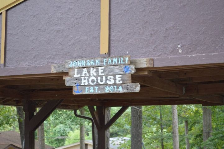 diy lake sign fencing stencil hobby lobby, crafts