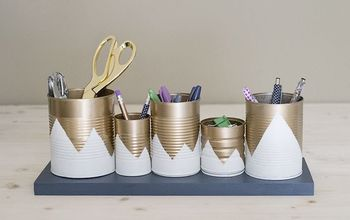 Upcycled Desk Organizer Using Tin Cans