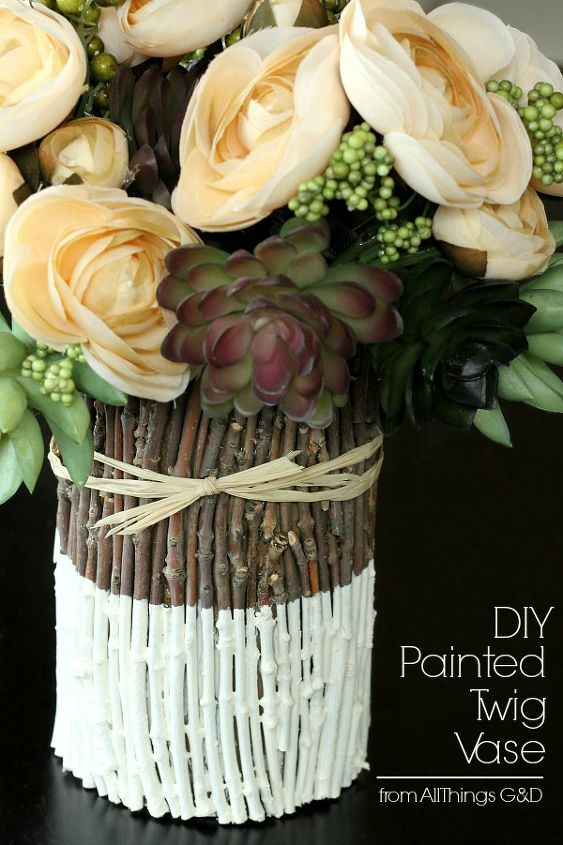 diy fall decor vase twigs painted, crafts