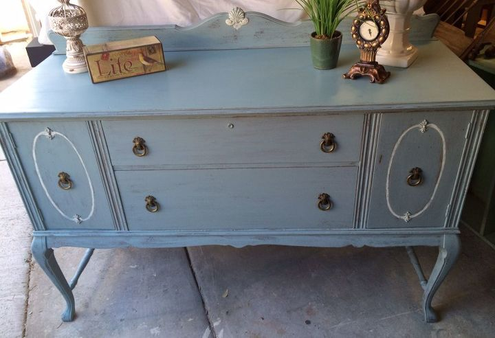 painted furniture antique buffet makeover, painted furniture, shabby chic