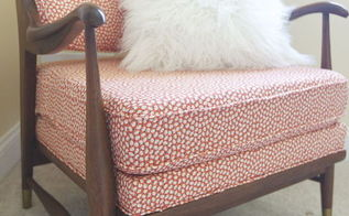 mid century armchair reupholstered antique redo, reupholster