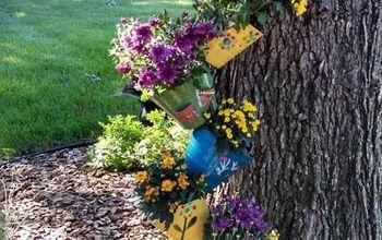 gardening planter topsy turvy whimsical, container gardening, flowers, gardening