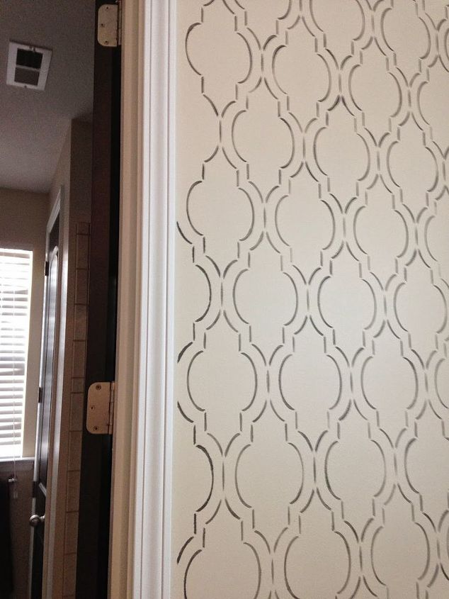 stenciled bedroom nook pattern, painting, wall decor