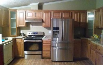 Chalk painted and glazed kitchen cabinets.