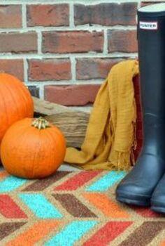 fall painted doormat herringbone, crafts, repurposing upcycling, seasonal holiday decor