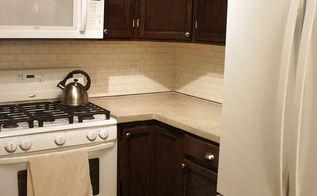 kitchen makeover concrete countertop, concrete masonry, countertops, diy, kitchen cabinets, kitchen design