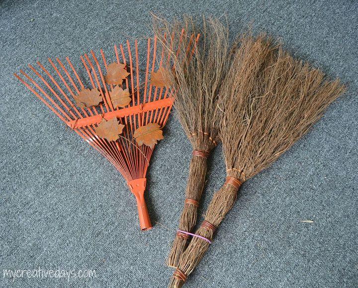 fall rake decoration broom outdoor easy, crafts, repurposing upcycling, seasonal holiday decor