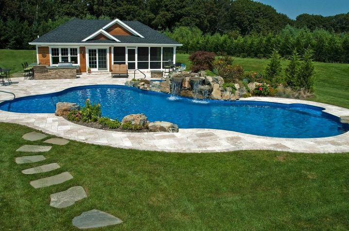 destination backyard retreat makes a splash, home improvement, outdoor living, patio, pool designs, Pool House