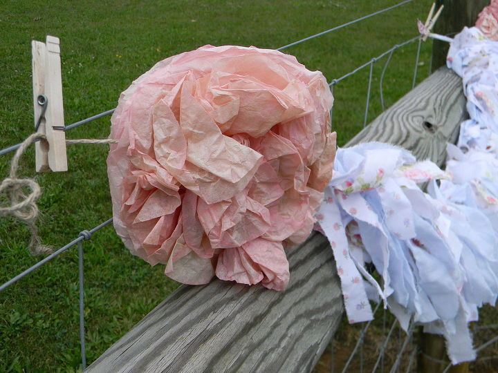shabby chic banner coffee filters old sheets, crafts, outdoor living, repurposing upcycling, shabby chic