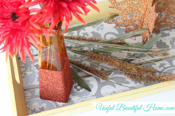 fall decor vase dollar store glitter dipped, crafts, seasonal holiday decor