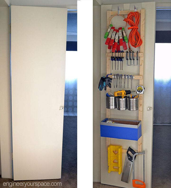 diy storage hooks over door organizing, closet, diy, organizing, storage ideas, woodworking projects