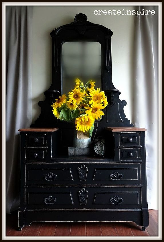 painted furniture antique vanity black, painted furniture, shabby chic,  woodworking projects - Painting Antique Vanity Black Hometalk