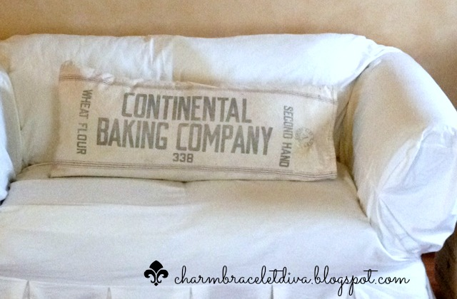 Pillow Cover Vintage Flour Sack No Sew Repurposing Upcycling Reupholster