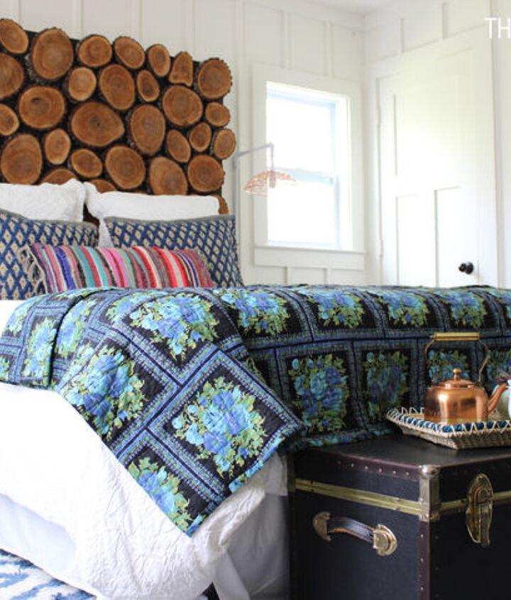 diy headboard wood stump round, bedroom ideas, diy, repurposing upcycling, woodworking projects