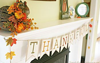 mantel thankful banner bunting tutorial, crafts, fireplaces mantels