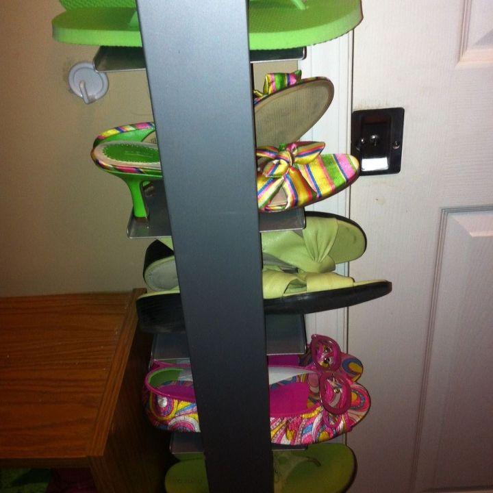 cd tower turned shoe rack, organizing, repurposing upcycling, storage ideas