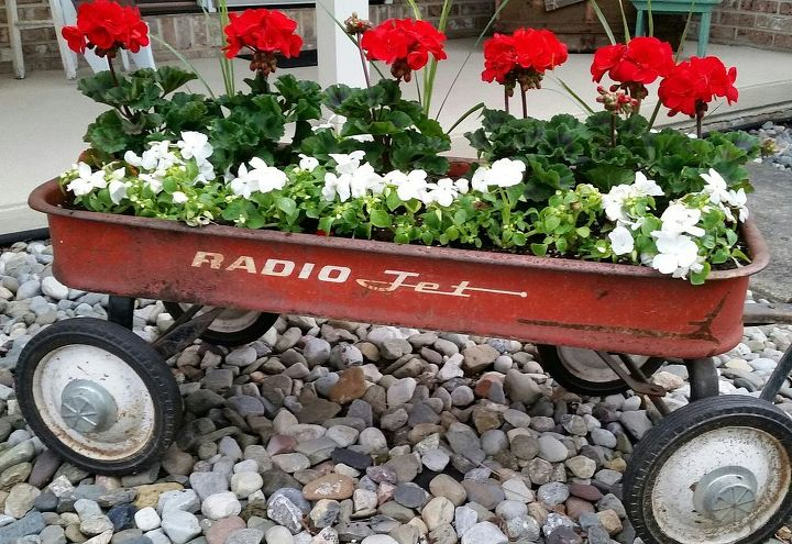 q gardening ideas planter vintage wagon fall ideas rustic, container gardening, repurposing upcycling, Early plantings in my little red wagon