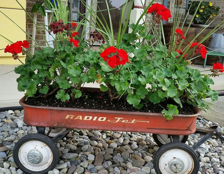 q gardening ideas planter vintage wagon fall ideas rustic, container gardening, repurposing upcycling, Removed the dreary white impatiens last week Still hanging onto summer as long as I can