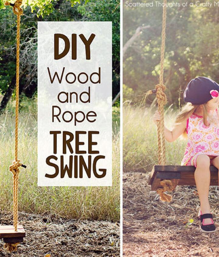 diy swing tree rustic wood rope, diy, outdoor living