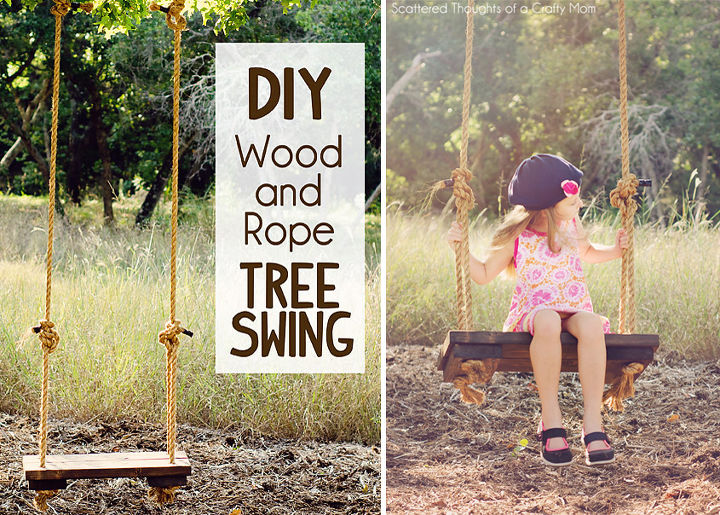 diy swing tree rustic wood rope, diy, outdoor living
