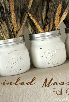 mason jar painted fall centerpiece, crafts, mason jars, painting, repurposing upcycling