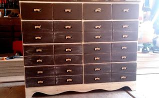 thrifted dresser redo card catalog pulls, painted furniture