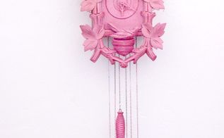 glam hot pink glitter cuckoo clock makeover, crafts, repurposing upcycling