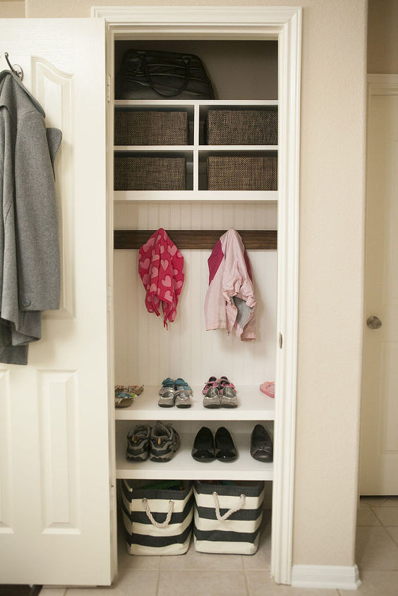 organizing coat closet mini mudroom, closet, foyer, organizing, storage ideas
