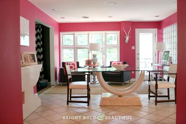 dining room modern pink white bold, home decor, kitchen design