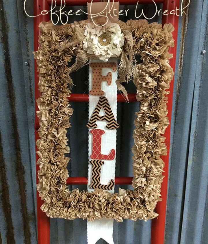 fall decor wreath coffee filters craft easy, crafts, repurposing upcycling, seasonal holiday decor, wreaths