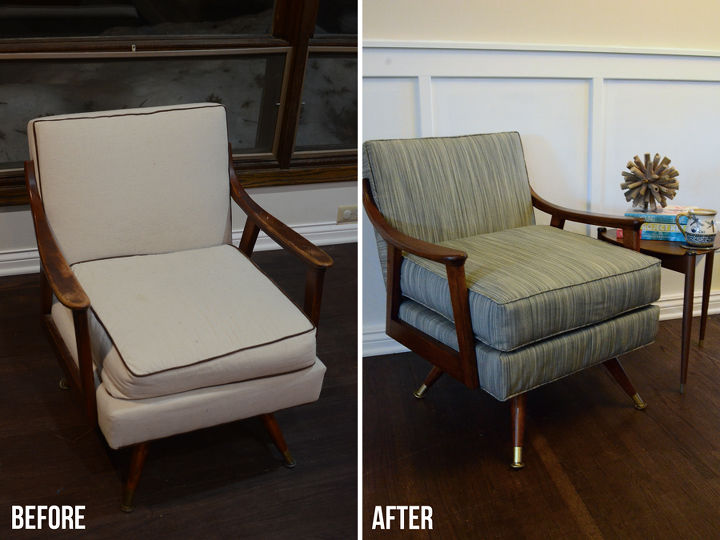 reupholstered midcentury modern chair before and after, painted furniture, repurposing upcycling, reupholster