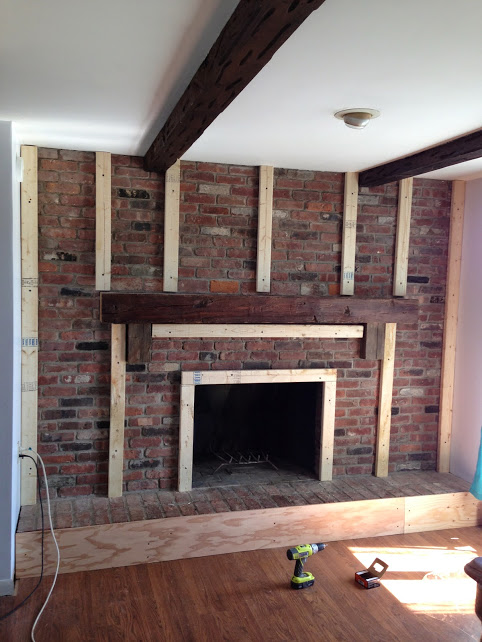 Cottage chic fireplace redo hometalk - How to cover brick fireplace ...
