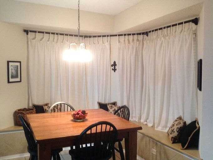 curtain rod bay window, home decor, reupholster, window treatments, woodworking projects