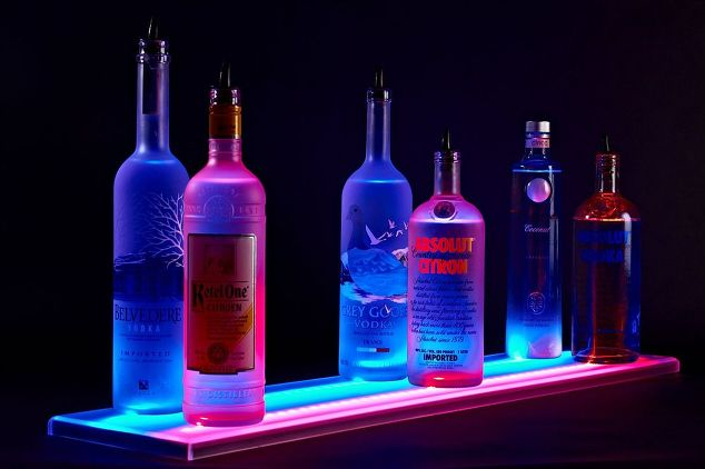 LED Lighted Double Wide Liquor Shelves Bottle Display | Hometalk