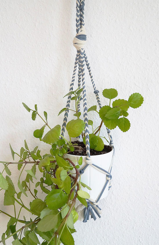 plant hanger t shirt yarn instructions, container gardening, crafts, how to, repurposing upcycling, reupholster