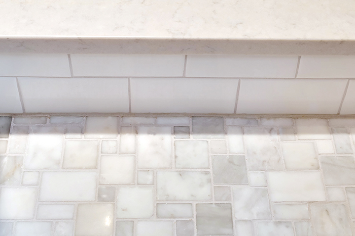 Shower Curb and Marble Floor
