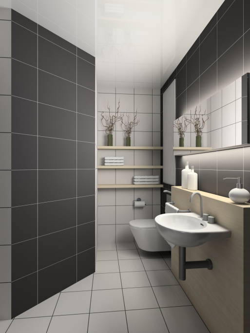 Bathroom With Rubber Duckies Murals And Toys: Advantages Of Rubber Tile Flooring In Bathrooms
