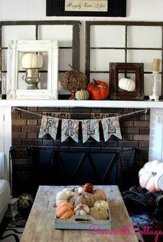 fall mantel banner tutorial, crafts, fireplaces mantels, seasonal holiday decor