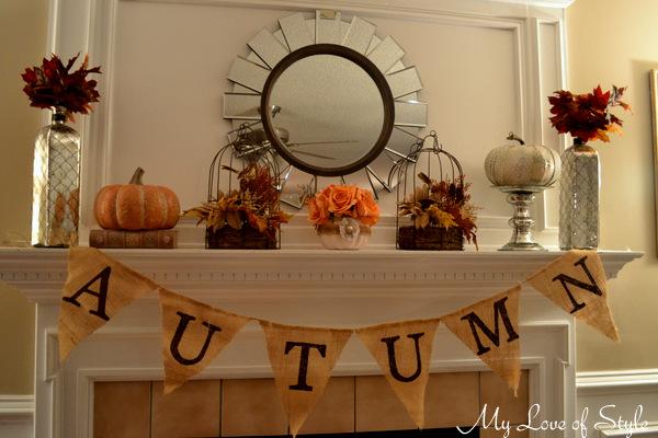 shabby chic pumpkin vase centerpiece, crafts, fireplaces mantels, seasonal holiday decor, shabby chic