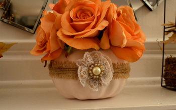 Shabby Chic Pumpkin Vase Centerpiece