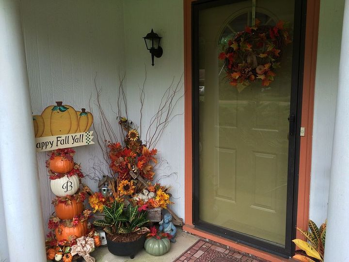 fall front porch decor flowers pumpkins country, porches, seasonal holiday decor