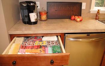 organizing kitchen hot beverage station, kitchen cabinets, kitchen design, organizing