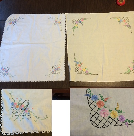 Tablecloths with details of the embroidery.