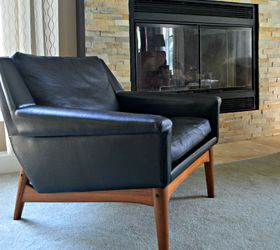 Mid Century Modern Chair Leather Thrift Refinish, Repurposing Upcycling