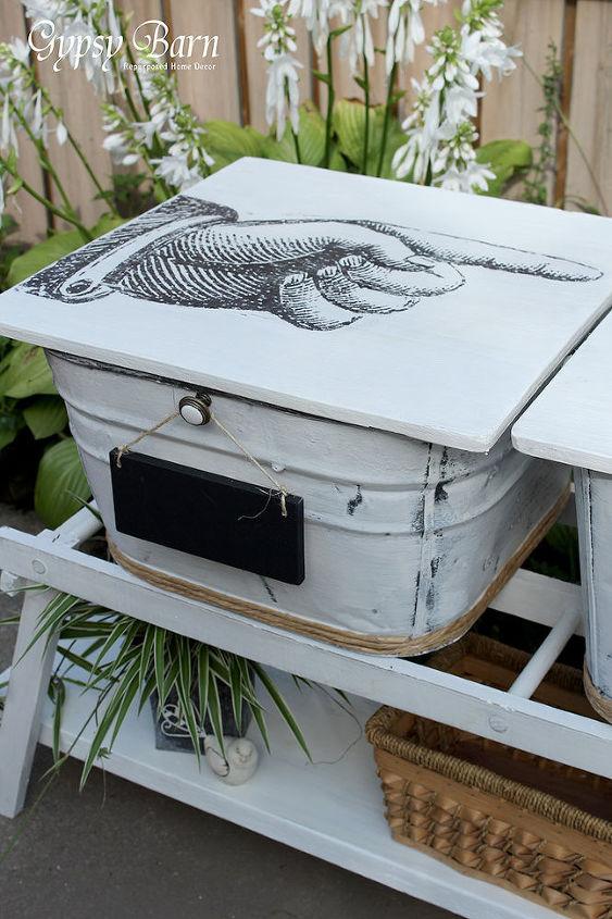 washbins vintage storage cooler repurpose uses, chalkboard paint, diy, outdoor furniture, painting, repurposing upcycling